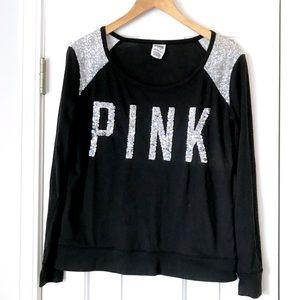 VS pink black silver sequin long sleeve top